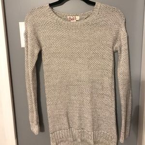 Long grey knit sweater